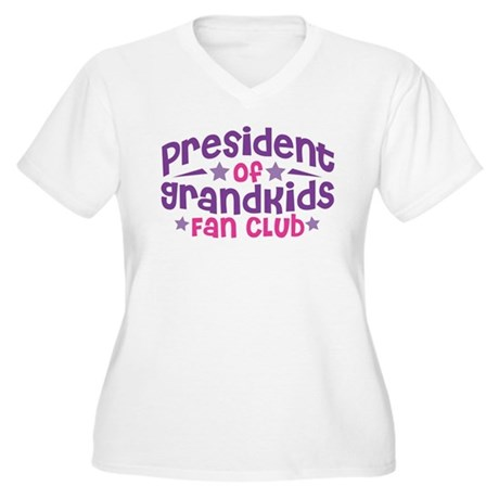 PRESIDENT GRANDKIDS FAN CLUB Women's Plus Size V-N