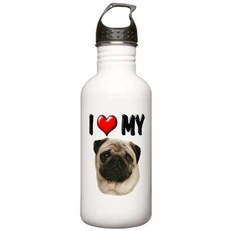 I Love My Pug Stainless Water Bottle 1.0L