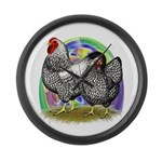 Easter Egg Wyandottes Large Wall Clock