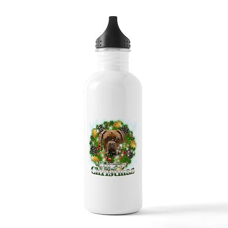 Merry Christmas Mastiff Stainless Water Bottle 1.0