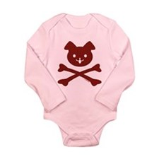 Red Plaid Doggy Crossbones Long Sleeve Infant Body