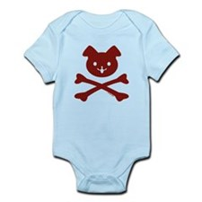 Doggy Crossbones Red Plaid Infant Bodysuit
