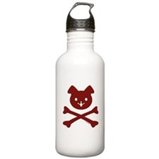Red Plaid Doggy Crossbones Water Bottle