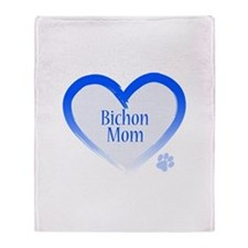 Bichon Blue Heart Throw Blanket