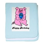 HAPPY BIRTHDAY PINK PIG baby blanket