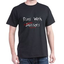 Runs W/Decorative Scissors Black T-Shirt
