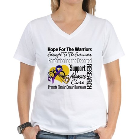 Hope Tribute Bladder Cancer Women's V-Neck T-Shirt