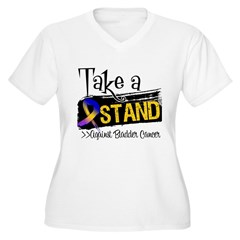 Take a Stand Bladder Cancer Women's Plus Size V-Ne