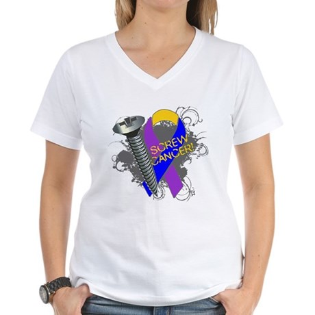 Screw Bladder Cancer Women's V-Neck T-Shirt