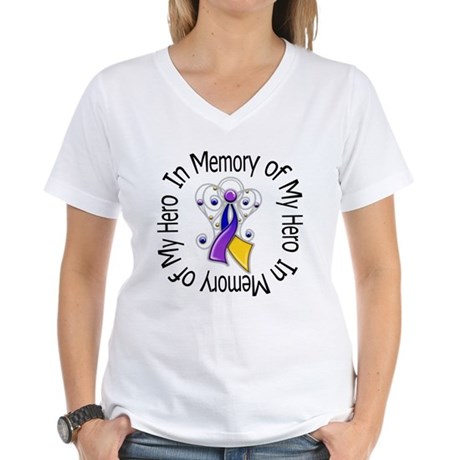 In Memory - Bladder Cancer Women's V-Neck T-Shirt