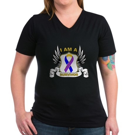 Survivor - Bladder Cancer Women's V-Neck Dark T-Sh