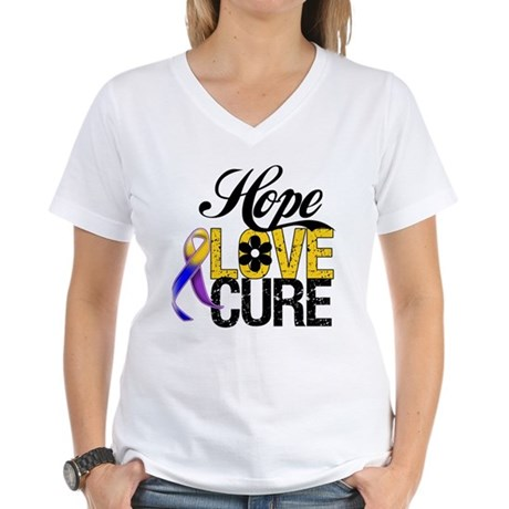 Hope Love Cure Bladder Cancer Women's V-Neck T-Shi