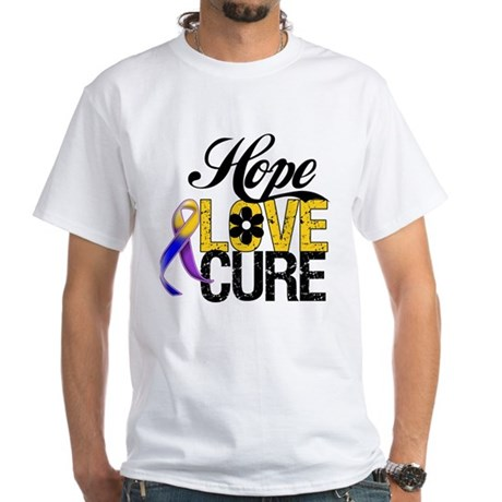 Hope Love Cure Bladder Cancer White T-Shirt