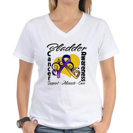 Awareness Bladder Cancer Women's V-Neck T-Shirt