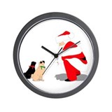 Pugs with Santa Wall Clock
