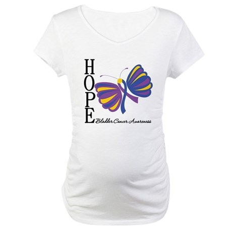 Butterfly Hope Bladder Cancer Maternity T-Shirt