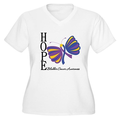 Butterfly Hope Bladder Cancer Women's Plus Size V-