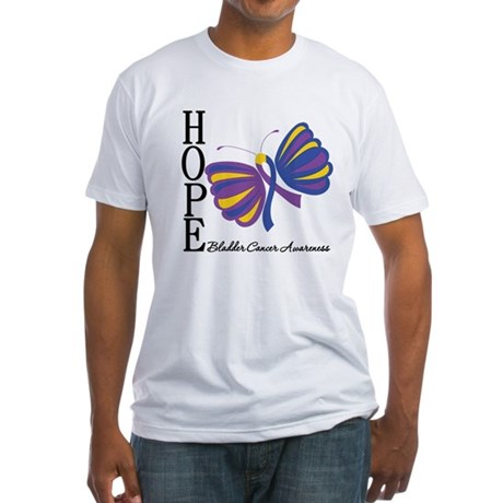 Butterfly Hope Bladder Cancer Fitted T-Shirt
