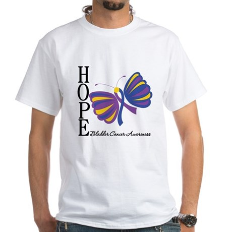 Butterfly Hope Bladder Cancer White T-Shirt