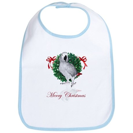 african grey christmas Bib