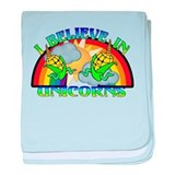 I Believe In Unicorns baby blanket