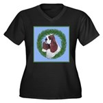 Christmas Cocker Spaniel Women's Plus Size V-Neck