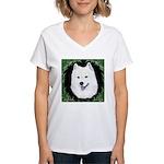 Christmas Samoyed Women's V-Neck T-Shirt