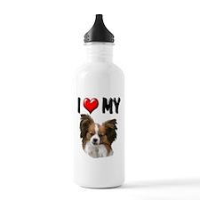 I Love My Papillon Water Bottle
