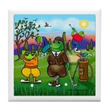 Golfing frogs Tile Coaster