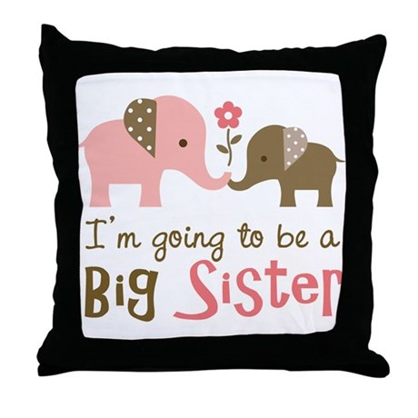 Big Sister to be - Mod Elephant Throw Pillow
