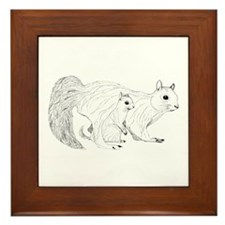 Squirrel Parent and Baby Framed Tile