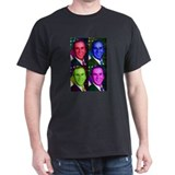 Colorful George W. Bush  Black T-Shirt