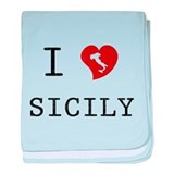 I Love Sicily baby blanket