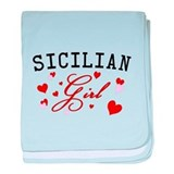 Sicilian Girl Hearts baby blanket
