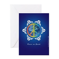 Peace Around The World on Blue Greeting Cards
