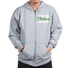 I Believe with Santa Hat Zip Hoodie