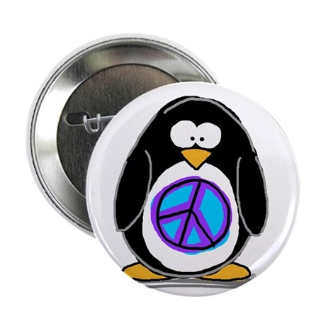 "Peace penguin 2.25"" Button (10 pack)"