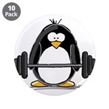 "Weight lifting penguin 3.5"" Button (10 pack)"