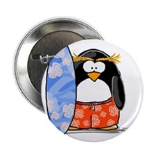"Surfing Macaroni Penguin 2.25"" Button (100 pack)"