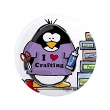 "I love crafting penguin 3.5"" Button (100 pack)"