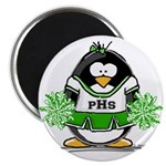 "Green CheerLeader Penguin 2.25"" Magnet (10 pa"