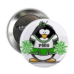 "Green CheerLeader Penguin 2.25"" Button (100 p"