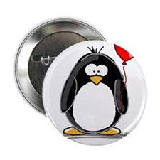 """Red Balloon Penguin 2.25"""" Button (100 pack)"""