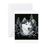 Alaskan Malamute Winter Desig Greeting Card