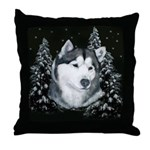 Alaskan Malamute Winter Desig Throw Pillow