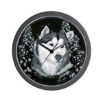 Alaskan Malamute Winter Desig Wall Clock
