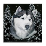Alaskan Malamute Winter Desig Tile Coaster