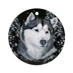 Alaskan Malamute Winter Desig Ornament (Round)