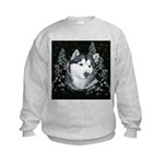 Alaskan Malamute Winter Desig Kids Sweatshirt