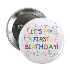 Colorful Text Baby's First Birthday Button